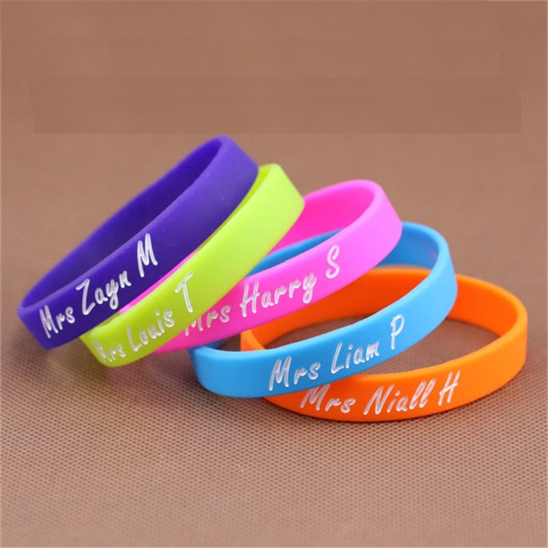 Debossed color filled silicon wristband