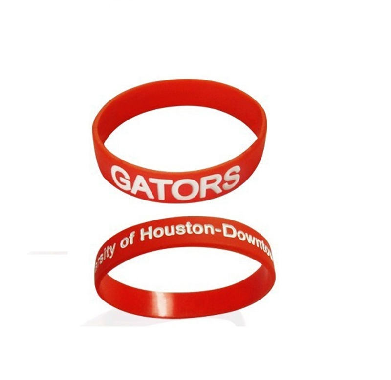 Adult Embossed printed raised lettering color silicone wristband