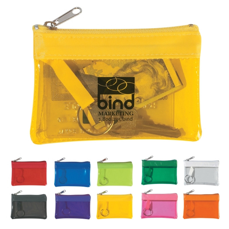 Translucent Zippered Coin Pouch In Vinyl