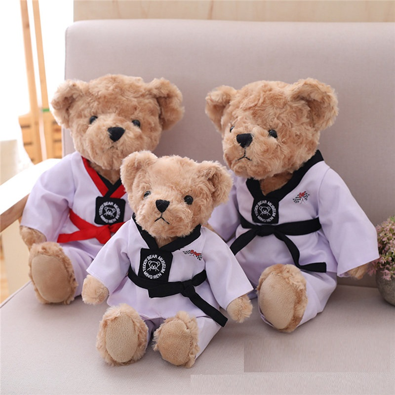 Plush toy Teddy bear with Taekwondo Uniform