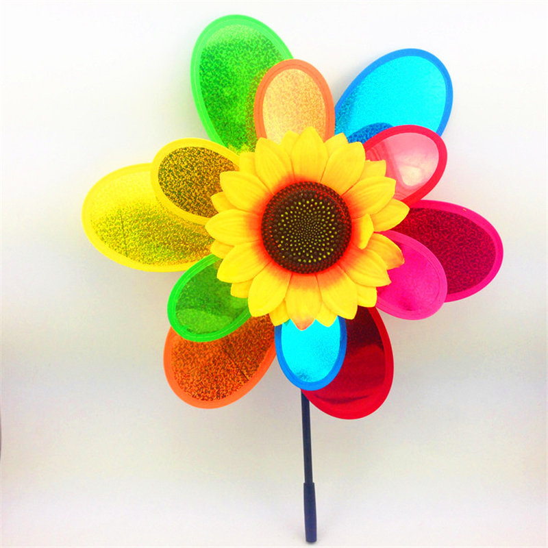 Double layer colorful Sunflower Kids Toy Windmills
