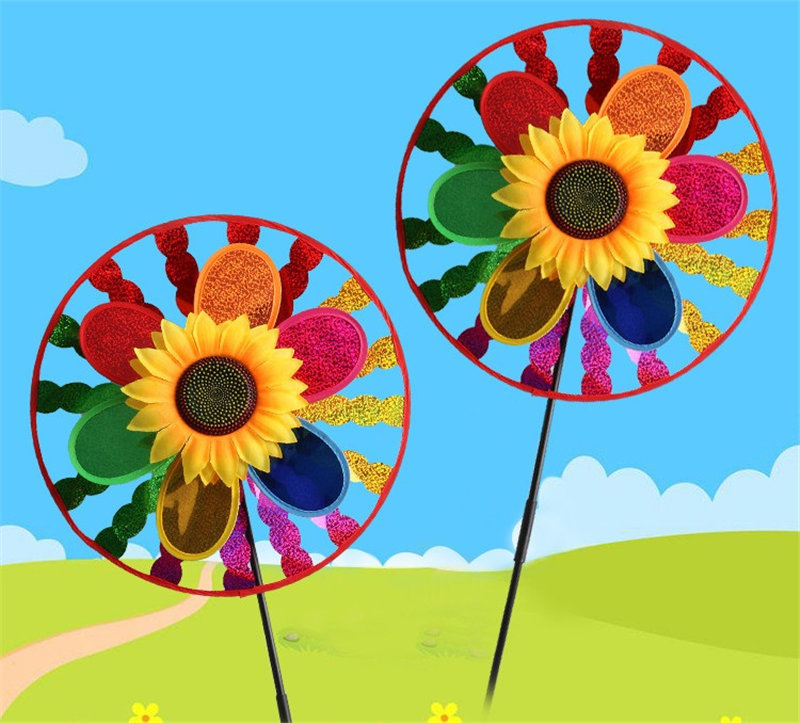 Double layers Colorful sunflower Kids Toy Windmills