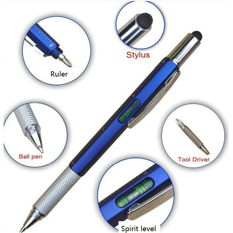 6 in 1 multi functional plasticTool Pen with Ruler,level,Stylus and Screwdrive  - 副本